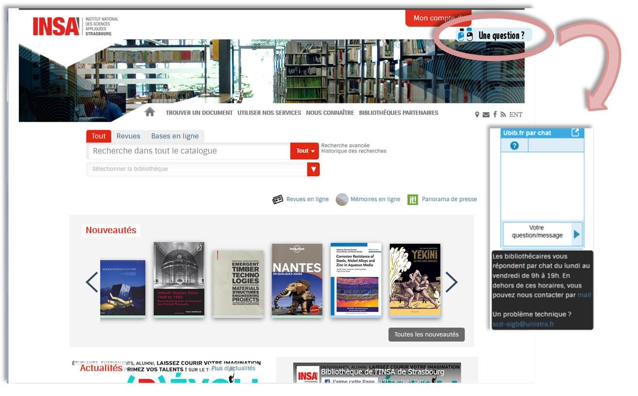 Copie d'écran du portail INSA avec widget Ubib